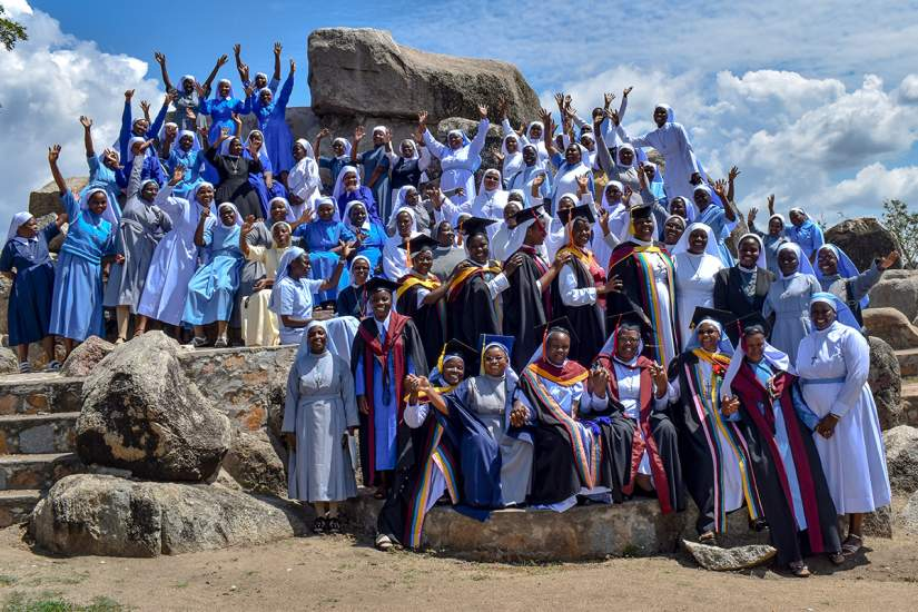 Sisters celebrate the graduation of HESA participants from ASEC partner university, St. Augustine University College (SAUT), in Mwanza,Tanzania (2019).