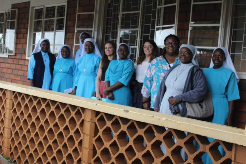 ASEC staff meet with Good Samaritan Sisters at the Mapeera Bakateyamba Home for the Elderly & Sick and St. Francis Clinic during a site visit (June, 2019).