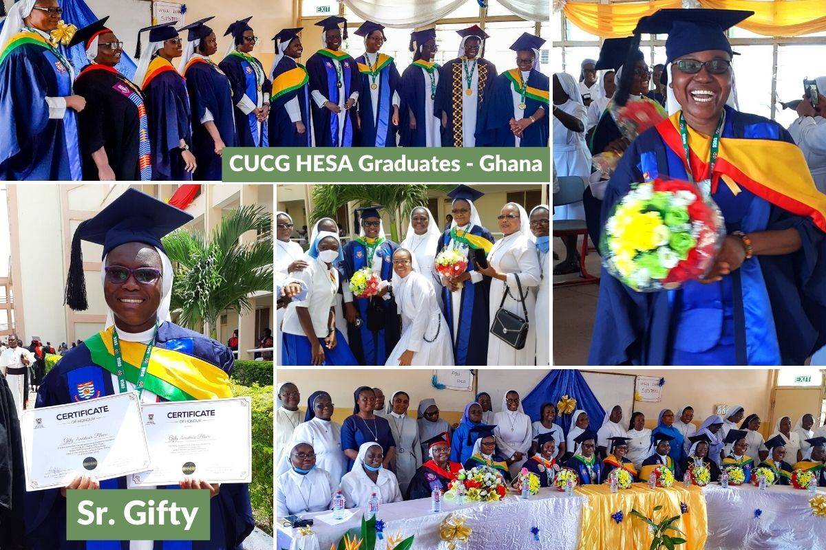 Photos from the 2020 Catholic University College of Ghana (CUCG) graduation ceremony on October 31, 2020. Afterwards, a celebration took place for the 13 HESA CUCG graduates.