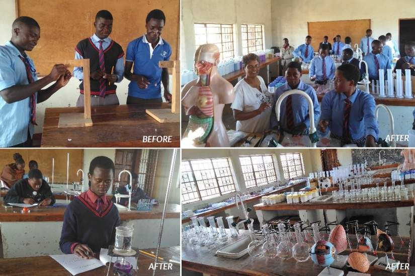 Before the $15,000 grant, students had no equipment (top left). Now, through the purchase of new books and science lab equipment, they are thriving. Sr. Prema adds,
