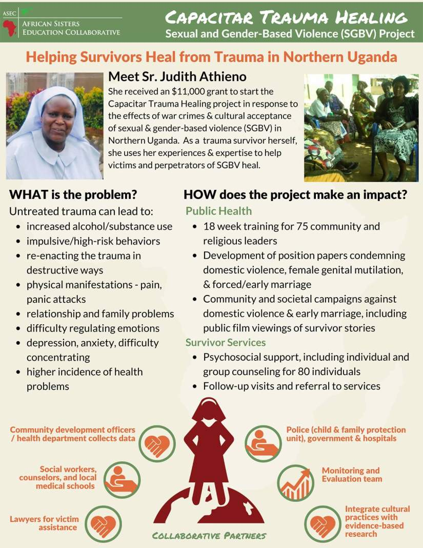Sr. Judith used her experience along with her ASEC training and skills to secure a grant to start the Capacitar Trauma Healing project to provide critical public health services and counseling to trauma survivors.