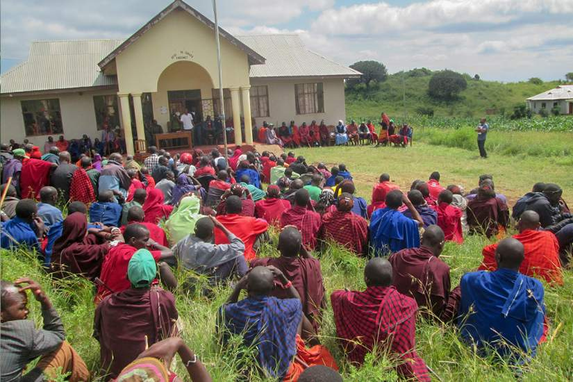 In Longido, a Maasai village in the Arusha region of Tanzania, Sr. Benedicta speaks to the community about the importance of clean water, educating their youth and respect for women.