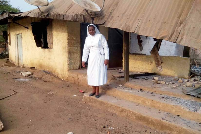 Sr. Veronica and other SLDI alumnae visited a deserted village in Mamfe Diocese, Cameroon, to share the plight of refugees and feel their pain. They were greeted by villagers who were mourning the death of the latest casualty of their displacement.