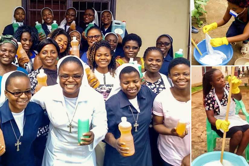 In Cameroon, SLDI alumna Sr. Felicitas organizes sessions to train women in liquid soap and bleach production, instilling a sense of pride by giving them the ability to generate income for themselves.
