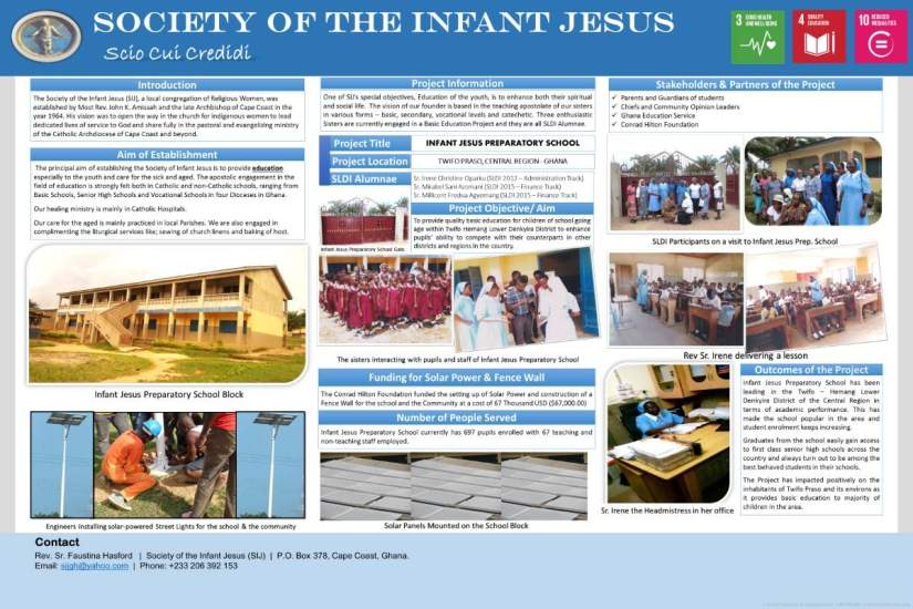 A poster about Infant Jesus Preparatory school created by the SIJ sisters for a presentation.