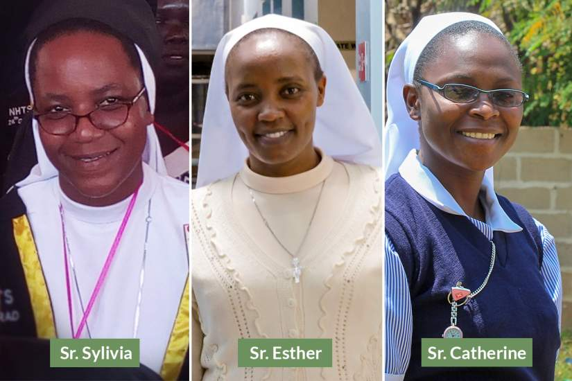 Catholic nuns Sr. Sylvia, Sr. Esther and Sr. Catherine are Nursing students of ASEC's HESA program.