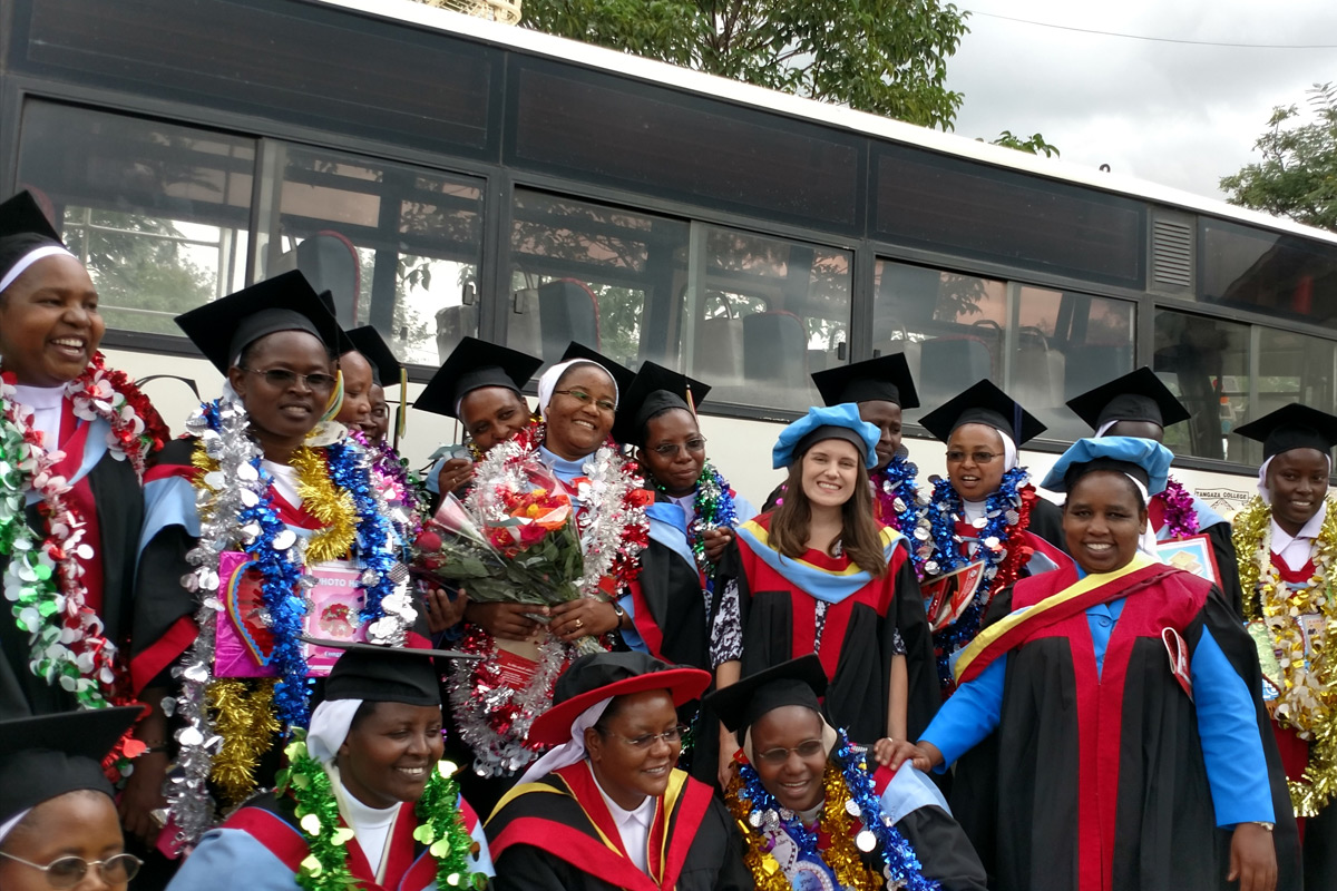 HESA students pose for a group photo before graduation ceremonies at Tangaza University in Nairobi, Kenya.