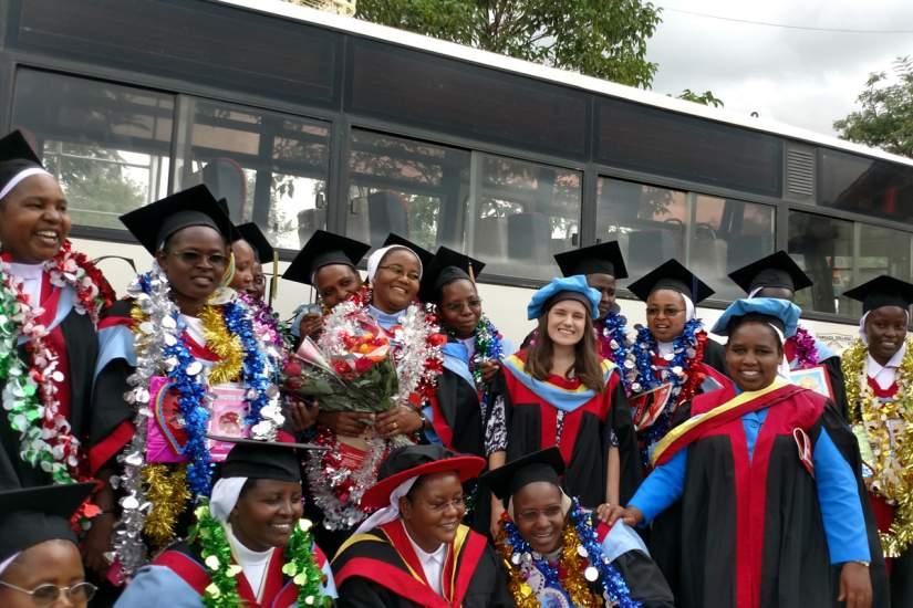 HESA students pose for a group photo before graduation ceremonies at Tangaza University in Nairobi, Kenya.