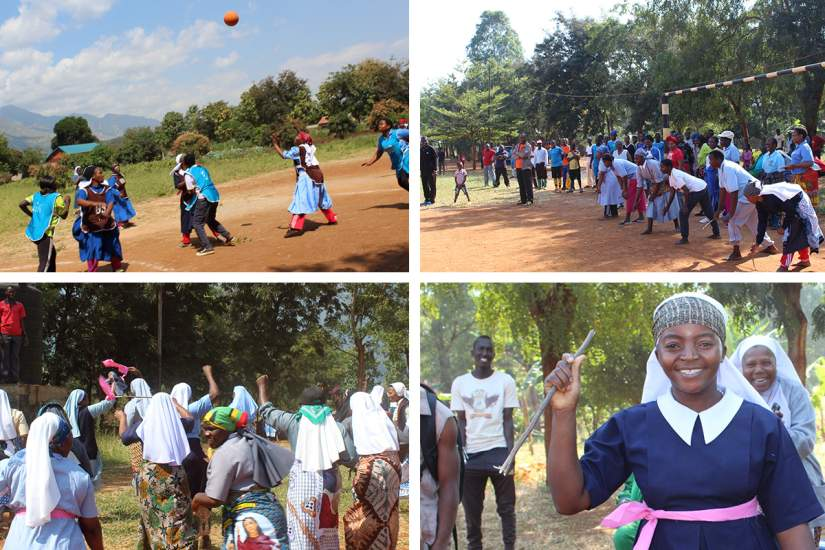 Top left: Sisters participated in netball with young girls. Sr. Maria Hava, CST was ready to receive the ball. Top right: Sisters participated in a running game with young girls. Bottom left: Sisters excited after winning two social games against young girls, running with sticks and pulling rope.Bottom right: Sr. Theresia M. Charahani, SOLQA was the winner in running with a stick.