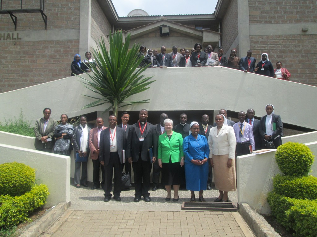 Group photo of all who witnessed the signing of the Memorandum of Understanding between Marywood University and the Catholic University of East Africa (CUEA) on August 1, 2012 in Nairobi, Kenya.