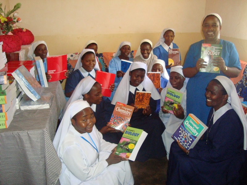 Sister Students of Bigwa School express their joy and gratitude for receiving new Science books