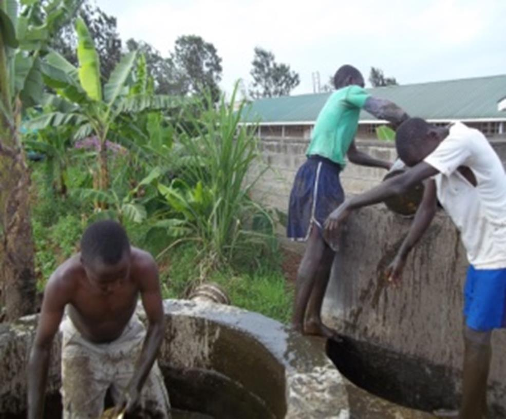 oys from the center, cleaning the biogas digester, waste products fertilize the farm.