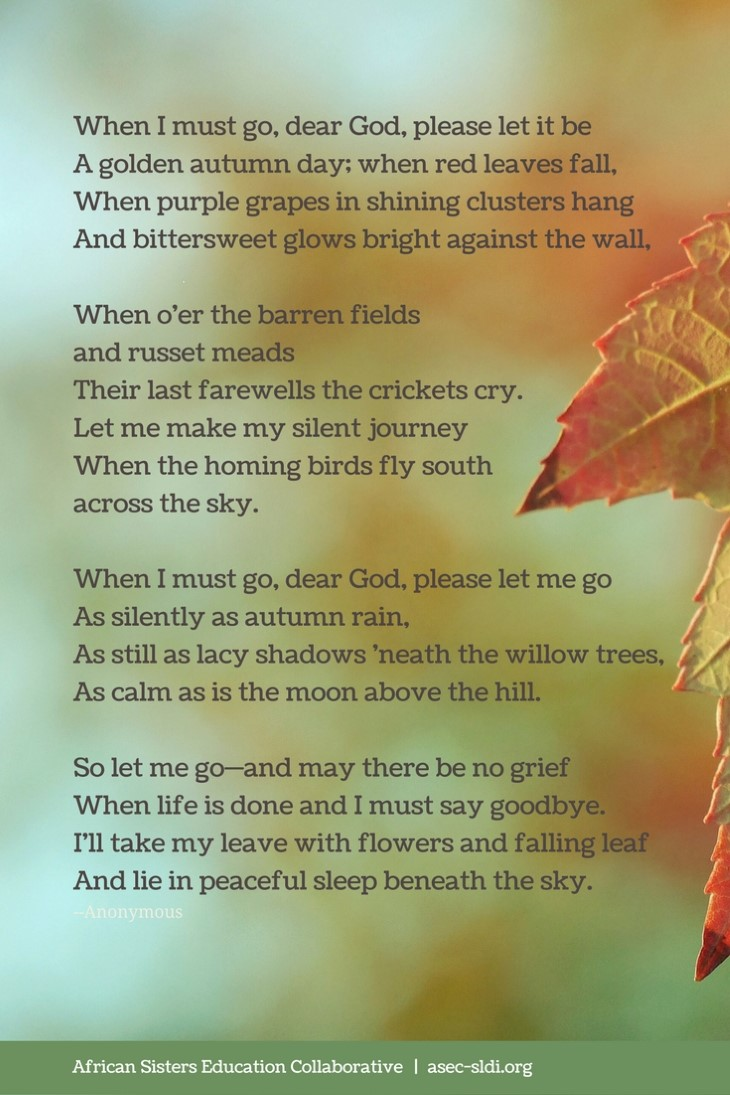 Autumn Prayer: when I must go dear God