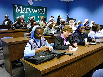 In 2004, ASEC hosted a conference at Marywood University for 18 African sisters in leadership positions to enhance their understanding of technology and to mutually explore avenues for access to education in their countries.